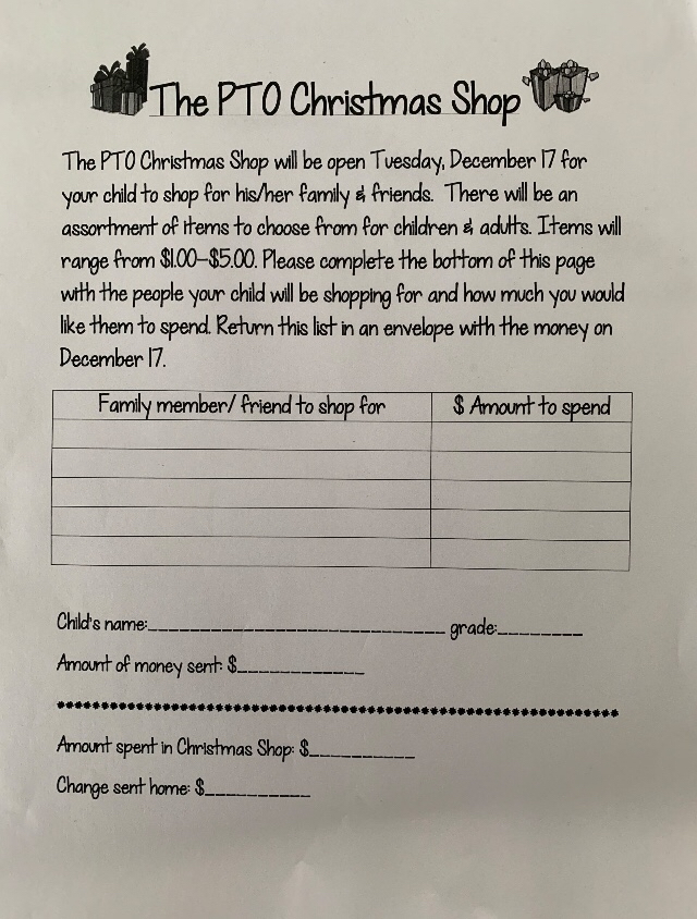 Christmas Shop form